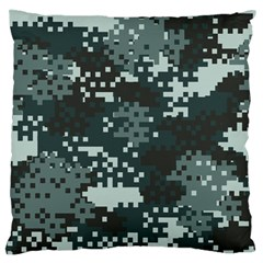 Turquoise Pixel Camo Pattern Large Flano Cushion Case (Two Sides)
