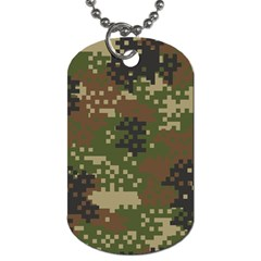 Pixel Woodland Camo Pattern Dog Tag (One Side)