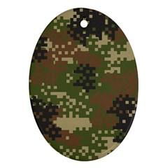 Pixel Woodland Camo Pattern Oval Ornament (Two Sides)