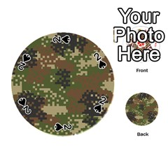 Pixel Woodland Camo Pattern Playing Cards 54 (Round)