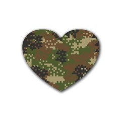 Pixel Woodland Camo Pattern Heart Coaster (4 pack)