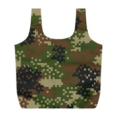 Pixel Woodland Camo Pattern Full Print Recycle Bags (L)