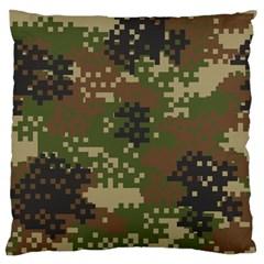 Pixel Woodland Camo Pattern Large Flano Cushion Case (One Side)
