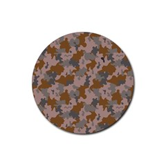 Brown And Grey Camo Pattern Rubber Round Coaster (4 pack)