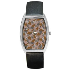 Brown And Grey Camo Pattern Barrel Style Metal Watch