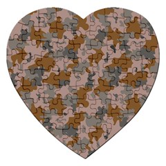 Brown And Grey Camo Pattern Jigsaw Puzzle (Heart)