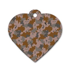 Brown And Grey Camo Pattern Dog Tag Heart (One Side)