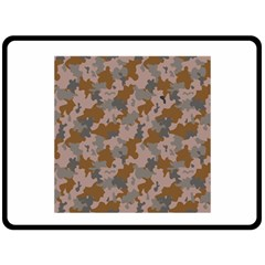 Brown And Grey Camo Pattern Fleece Blanket (Large)