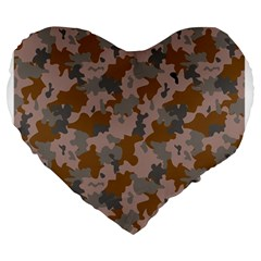 Brown And Grey Camo Pattern Large 19  Premium Heart Shape Cushions