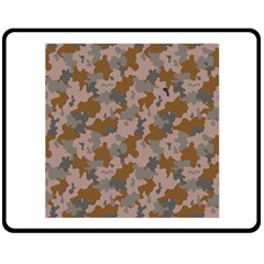 Brown And Grey Camo Pattern Double Sided Fleece Blanket (Medium)