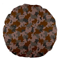 Brown And Grey Camo Pattern Large 18  Premium Flano Round Cushions