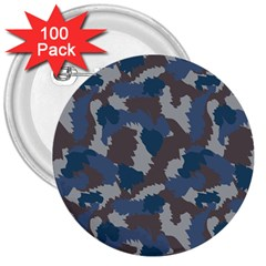 Blue And Grey Camo Pattern 3  Buttons (100 pack)