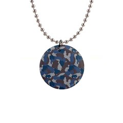 Blue And Grey Camo Pattern Button Necklaces