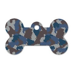 Blue And Grey Camo Pattern Dog Tag Bone (Two Sides)