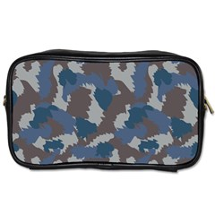 Blue And Grey Camo Pattern Toiletries Bags