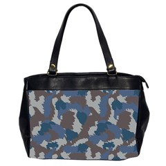 Blue And Grey Camo Pattern Office Handbags (2 Sides)