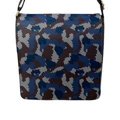 Blue And Grey Camo Pattern Flap Messenger Bag (L)