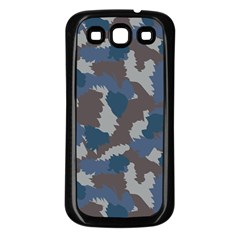 Blue And Grey Camo Pattern Samsung Galaxy S3 Back Case (Black)