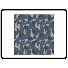 Blue And Grey Camo Pattern Double Sided Fleece Blanket (Large)