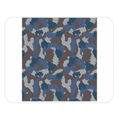 Blue And Grey Camo Pattern Double Sided Flano Blanket (Large)