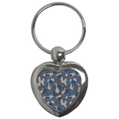 Blue And Grey Camo Pattern Key Chains (Heart)