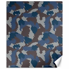 Blue And Grey Camo Pattern Canvas 8  x 10