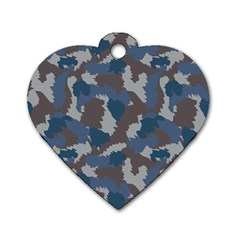 Blue And Grey Camo Pattern Dog Tag Heart (Two Sides)