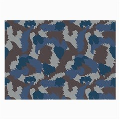 Blue And Grey Camo Pattern Large Glasses Cloth (2-Side)
