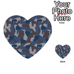 Blue And Grey Camo Pattern Multi-purpose Cards (Heart)