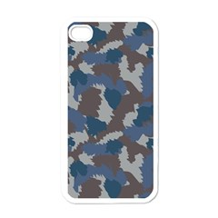Blue And Grey Camo Pattern Apple iPhone 4 Case (White)