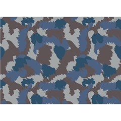 Blue And Grey Camo Pattern Birthday Cake 3D Greeting Card (7x5)
