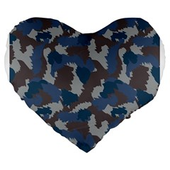 Blue And Grey Camo Pattern Large 19  Premium Flano Heart Shape Cushions