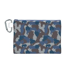 Blue And Grey Camo Pattern Canvas Cosmetic Bag (M)
