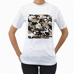Urban White And Brown Camo Pattern Women s T-Shirt (White) (Two Sided)