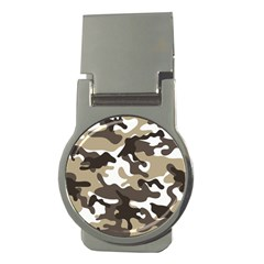 Urban White And Brown Camo Pattern Money Clips (Round)