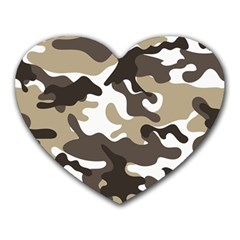 Urban White And Brown Camo Pattern Heart Mousepads