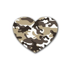Urban White And Brown Camo Pattern Rubber Coaster (Heart)