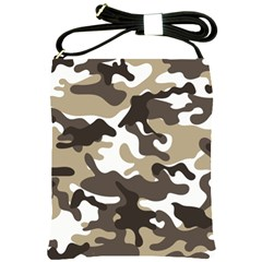 Urban White And Brown Camo Pattern Shoulder Sling Bags