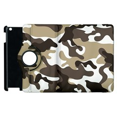 Urban White And Brown Camo Pattern Apple iPad 3/4 Flip 360 Case