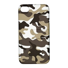 Urban White And Brown Camo Pattern Apple iPhone 4/4S Hardshell Case with Stand