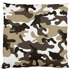 Urban White And Brown Camo Pattern Large Flano Cushion Case (One Side)