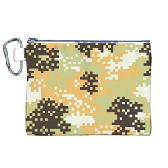 Pixel Desert Camo Pattern Canvas Cosmetic Bag (XL)
