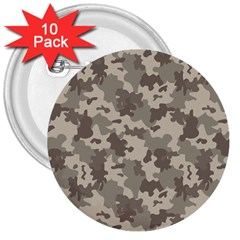 Grey Camouflage Pattern 3  Buttons (10 pack)