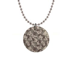 Grey Camouflage Pattern Button Necklaces