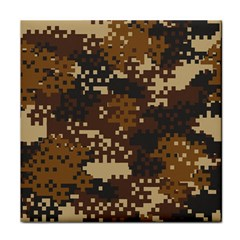 Pixel Brown Camo Pattern Tile Coasters