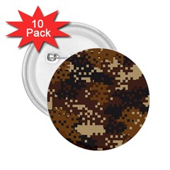 Pixel Brown Camo Pattern 2.25  Buttons (10 pack)