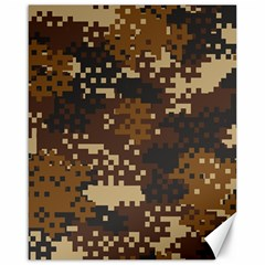 Pixel Brown Camo Pattern Canvas 16  x 20