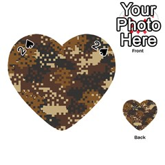 Pixel Brown Camo Pattern Playing Cards 54 (Heart)