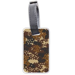 Pixel Brown Camo Pattern Luggage Tags (One Side)