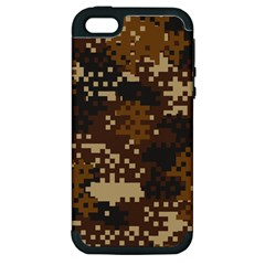 Pixel Brown Camo Pattern Apple iPhone 5 Hardshell Case (PC+Silicone)